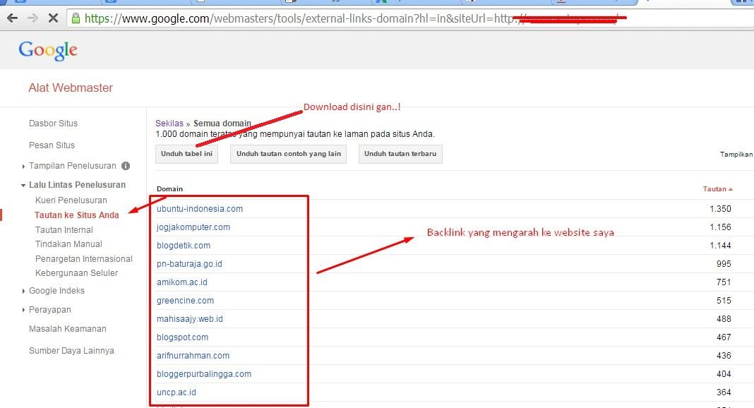 Backlink google webmaster lengkap