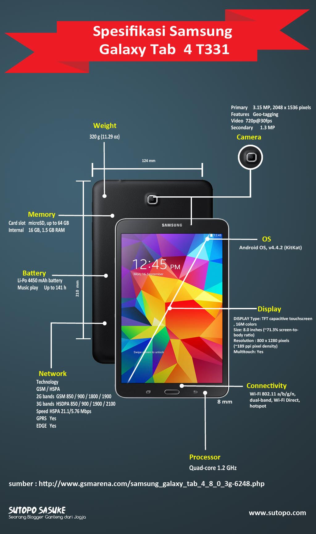 Spesifikasi Samsung Galaxy Tab 4 8.0 3G SM-T331